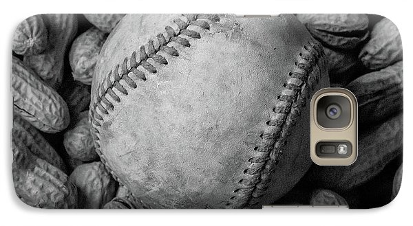 Galaxy Case featuring the photograph Baseball And Peanuts Black And White Square  by Terry DeLuco