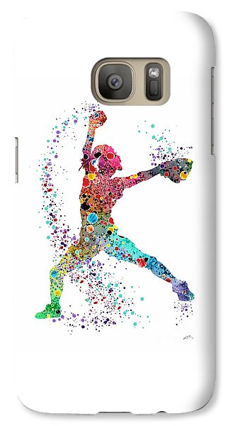 Softball Galaxy S7 Case - Baseball Softball Pitcher Watercolor Print by Svetla Tancheva