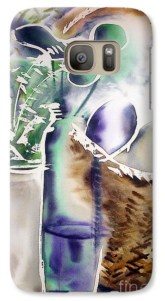 Galaxy Case featuring the painting Basket And Bottle by Allison Ashton