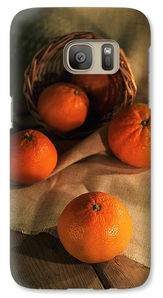 Galaxy Case featuring the photograph Basket Of Fresh Tangerines by Jaroslaw Blaminsky