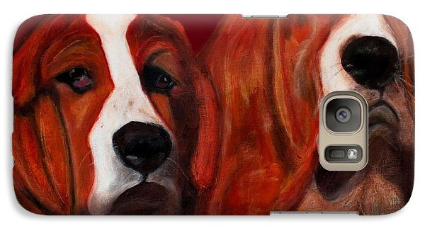 Galaxy Case featuring the painting Basset Hound - Mia And Marcellus by Laura  Grisham