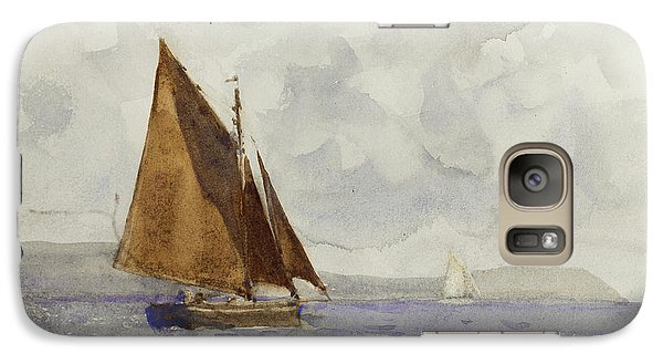Galaxy Case featuring the painting Bawley Running Up The Coast by Henry Scott Tuke