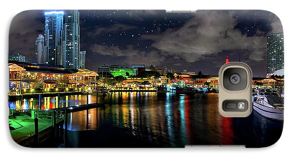 Galaxy Case featuring the photograph Bayside Miami Florida At Night Under The Stars by Justin Kelefas