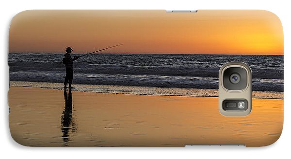 Beach Fishing At Sunset Galaxy S7 Case
