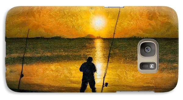 Galaxy Case featuring the photograph Beach Fishing  by Scott Carruthers