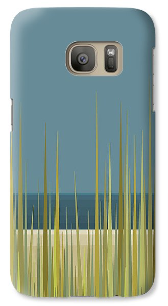 Galaxy Case featuring the digital art Beach Grass And Blue Sky by Val Arie