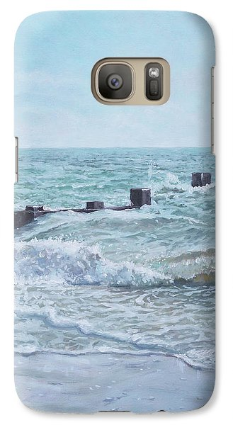 Galaxy Case featuring the painting Beach Groin With Autumn Waves by Martin Davey