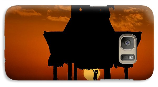 Galaxy Case featuring the photograph Beach Shelter At Sunset by Joe Bonita