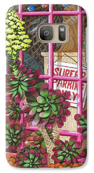 Galaxy Case featuring the painting Beach Side Storefront Window by Katherine Young-Beck
