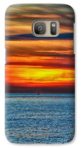 Galaxy Case featuring the photograph Beach Sunset And Boat by Mariola Bitner