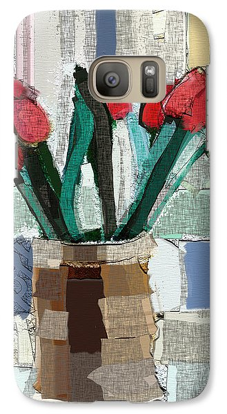 Galaxy Case featuring the painting Beach Tulips by Carrie Joy Byrnes