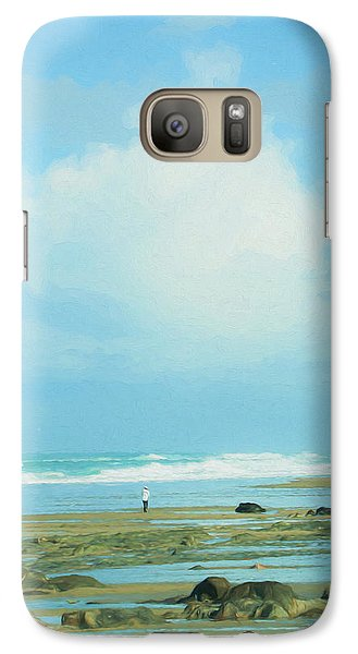 Galaxy Case featuring the photograph Beach Walk Painted by Mary Jo Allen