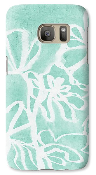 Galaxy Case featuring the mixed media Beachglass And White Flowers 2- Art By Linda Woods by Linda Woods