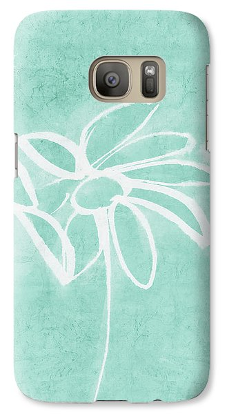 Galaxy Case featuring the mixed media Beachglass And White Flowers 3- Art By Linda Woods by Linda Woods