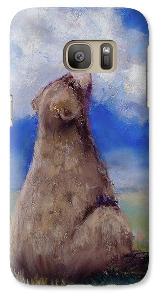 Galaxy Case featuring the pastel Bear And Butterfly by Billie Colson