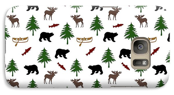 Galaxy Case featuring the mixed media Bear Moose Pattern by Christina Rollo