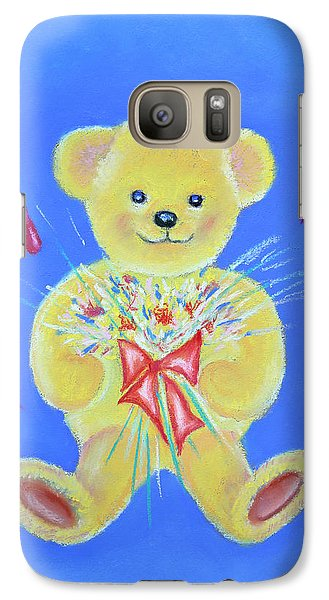 Galaxy Case featuring the pastel Bear With Flowers by Elizabeth Lock