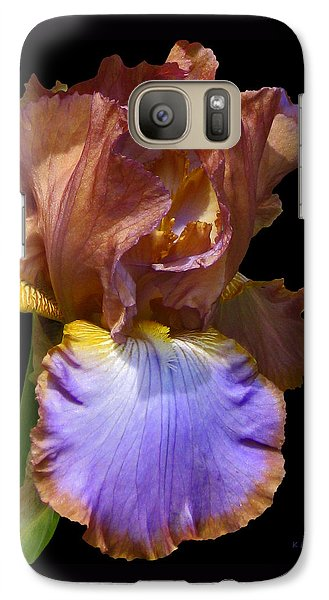 Galaxy Case featuring the photograph Bearded Iris With Black Background by Kerri Ligatich