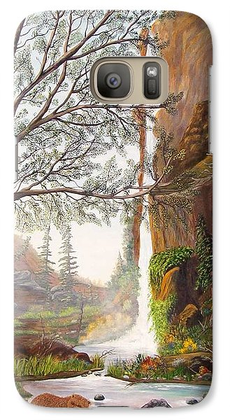 Galaxy Case featuring the painting Bears At Waterfall by Myrna Walsh