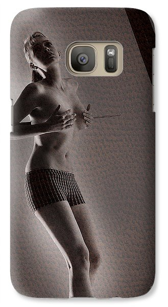Galaxy Case featuring the photograph Beautiful Blonde Holding Her Breasts by Michael Edwards