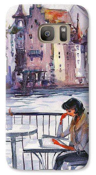 Beautiful Day, Reading Galaxy Case by Kristina Vardazaryan