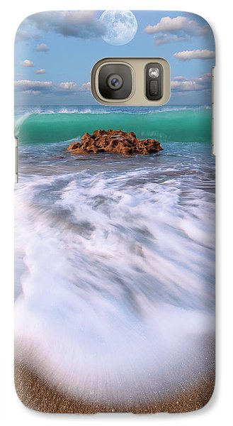 Galaxy Case featuring the photograph Beautiful Waves Under Full Moon At Coral Cove Beach In Jupiter, Florida by Justin Kelefas