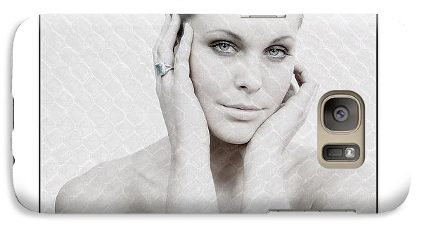 Galaxy Case featuring the photograph Beautiful Woman Holding Her Head Up by Michael Edwards