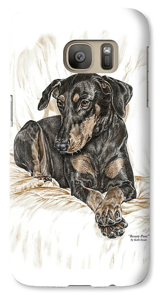 Galaxy Case featuring the drawing Beauty Pose - Doberman Pinscher Dog With Natural Ears by Kelli Swan