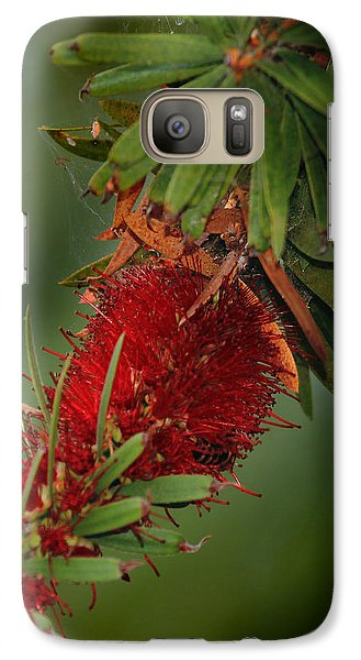 Galaxy Case featuring the photograph Bee In Red Flower by Joseph G Holland