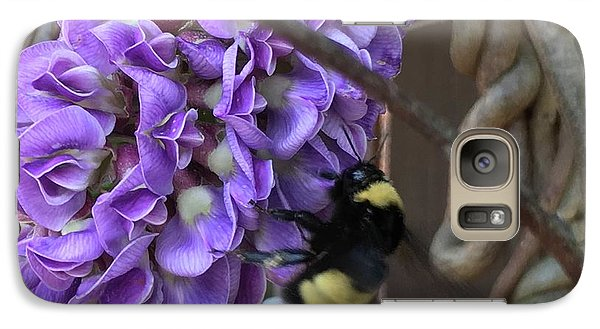 Galaxy Case featuring the painting Bee On Native Wisteria by Angela Annas