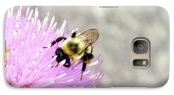 Galaxy Case featuring the photograph Bee On Pink Bull Thistle by Meta Gatschenberger