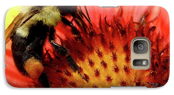 Galaxy Case featuring the photograph Bee Red Flower by Meta Gatschenberger