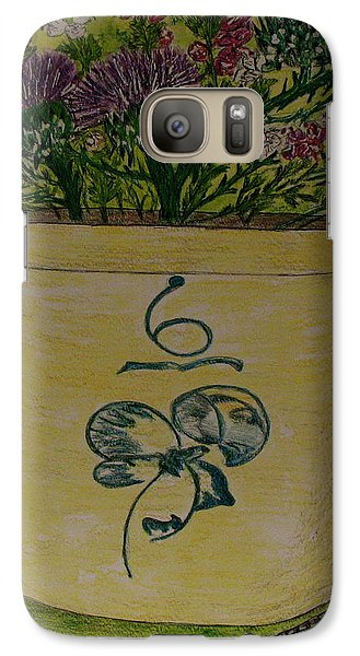 Galaxy Case featuring the painting Bee Sting Crock With Good Luck Bow Heather And Thistles by Kathy Marrs Chandler
