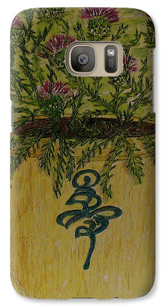 Galaxy Case featuring the painting Bee Sting Crock With Good Luck Horseshoe by Kathy Marrs Chandler