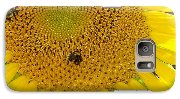 Galaxy Case featuring the photograph Bees Share A Sunflower by Sandi OReilly