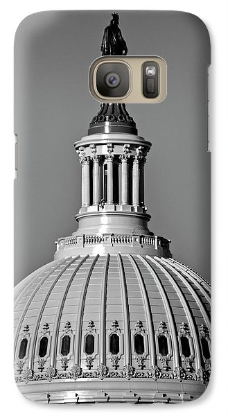 Galaxy Case featuring the photograph Behind Liberty In Black And White by Chrystal Mimbs