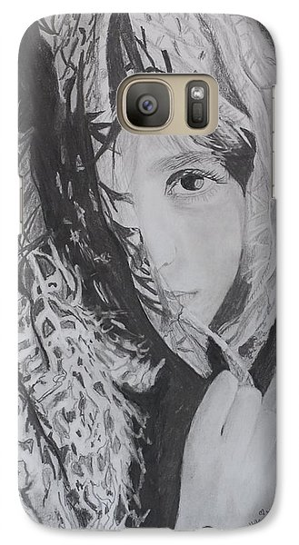 Galaxy Case featuring the drawing Behind The Veil by Quwatha Valentine