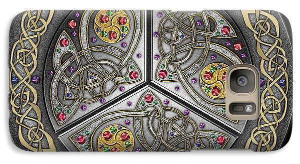 Galaxy Case featuring the mixed media Bejeweled Celtic Shield by Kristen Fox