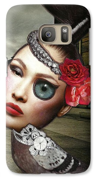 Galaxy Case featuring the mixed media Mixed Media Collage Bejeweled Pigeon Lady by Lisa Noneman