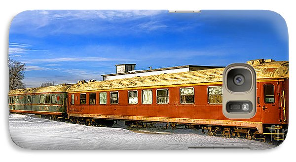 Galaxy Case featuring the photograph Belfast And Moosehead Railroad Cars In Winter by Olivier Le Queinec