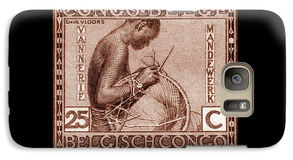 Galaxy Case featuring the painting Belgian Congo Woman Weaving Basket by Historic Image