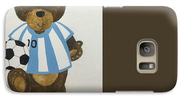 Galaxy Case featuring the painting Benny Bear Soccer by Tamir Barkan