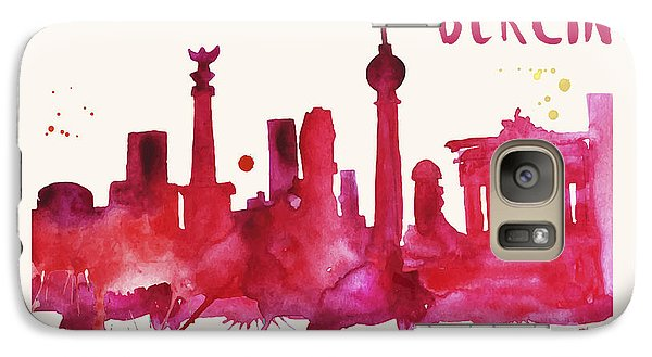 Berlin Skyline Watercolor Poster - Cityscape Painting Artwork Galaxy S7 Case