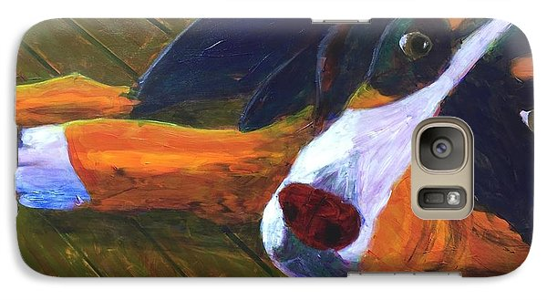 Galaxy Case featuring the painting Bernese Mtn Dog On The Deck by Donald J Ryker III