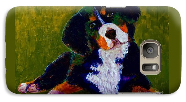 Galaxy Case featuring the painting Bernese Mtn Dog Puppy by Donald J Ryker III