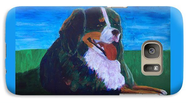Galaxy Case featuring the painting Bernese Mtn Dog Resting On The Grass by Donald J Ryker III