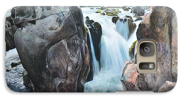 Galaxy Case featuring the painting Betws-y-coed Waterfall In North Wales by Harry Robertson