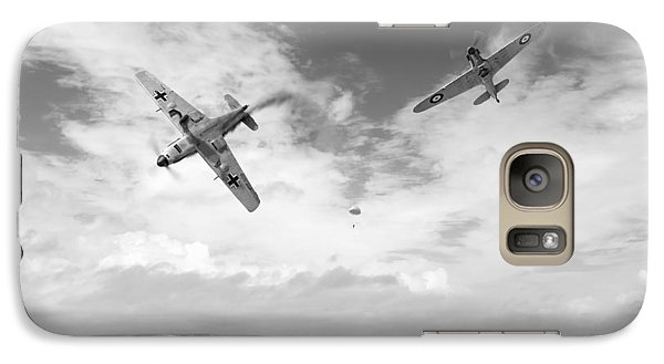 Galaxy Case featuring the photograph Bf109 Down In The Channel Bw Version by Gary Eason