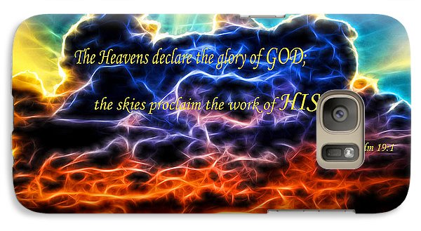 Galaxy Case featuring the photograph Biblical Electrified Cumulus Clouds Skyscape - Psalm 19 1 by Shelley Neff