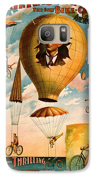 Galaxy Case featuring the photograph Bicycle Parachute Act 1896 by Padre Art